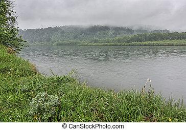 White fog over the  river in summer morning