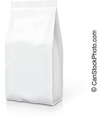 White foil or paper food stand up snack bag clipping path....