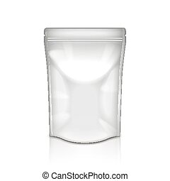 White foil packaging isolated on white photo-realistic vector illustration