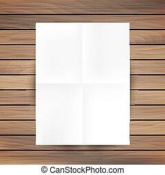 White folded paper mockup card isolated on wood background