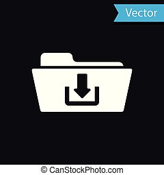 White Folder download icon isolated on black background. Vector Illustration
