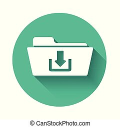 White Folder download icon isolated with long shadow. Green circle button. Vector Illustration