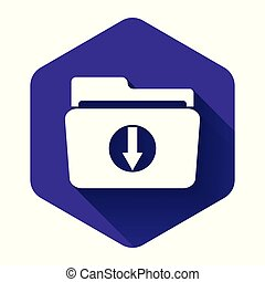 White Folder download icon isolated with long shadow. Purple hexagon button. Vector Illustration