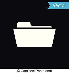 White Folder icon isolated on black background. Vector Illustration