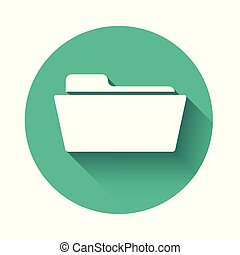 White Folder icon isolated with long shadow. Green circle button. Vector Illustration