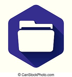 White Folder icon isolated with long shadow. Purple hexagon button. Vector Illustration