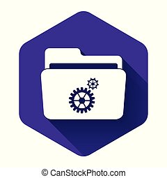 White Folder settings with gears icon with long shadow. Concept of software update, transfer protocol, router, teamwork tool management, copy process. Purple hexagon button. Vector Illustration