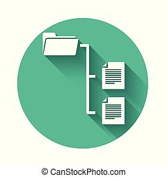 White Folder tree icon isolated with long shadow. Computer network file folder organization structure flowchart. Green circle button. Vector Illustration