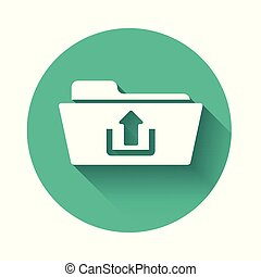 White Folder upload icon isolated with long shadow. Green circle button. Vector Illustration