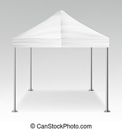 White Folding Tent Outdoor Pavilion Vector. Realistic Template Blank For Exhibition, Show, Party Or Wedding. Vector Illustration