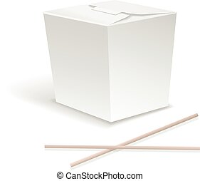 White Food box, Container for fast Chinese food, take out noodle box with chopsticks. asian lunch, isolated Vector