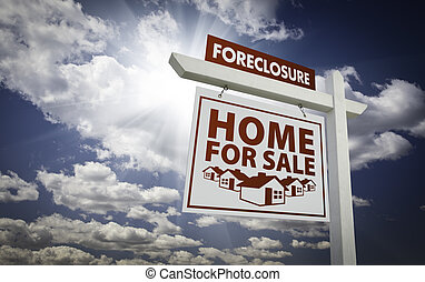 White Foreclosure Home For Sale Real Estate Sign Over...