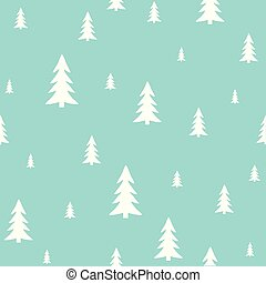 White forest on a blue background. Holiday pattern, Christmas decoration.