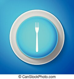 White Fork icon isolated on blue background. Circle blue button with white line. Vector Illustration