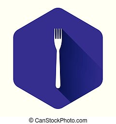 White Fork icon isolated with long shadow. Purple hexagon button. Vector Illustration