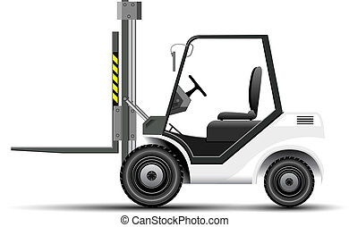 Realistic vector white forklift
