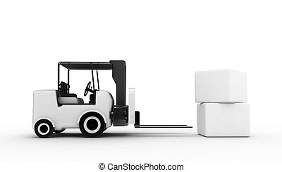 white forklift with boxes