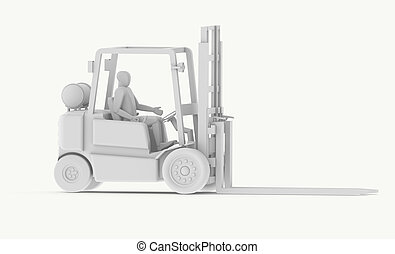 White Forklift with Operator