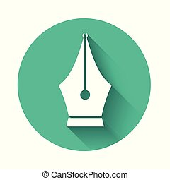 White Fountain pen nib icon isolated with long shadow. Pen tool sign. Green circle button. Vector Illustration