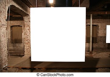 white frame among brick walls