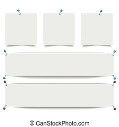 White Frame Banners Outline Pins - White frame banners with...