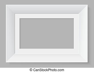White frame isolated on grey background. Vector illustration.