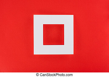white frame isolated on red with copy space