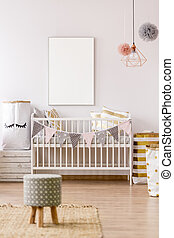 White frame mockup in baby nursery - White frame mockup in ...