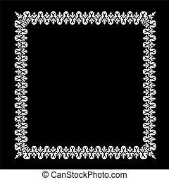 White frame on black