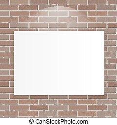 White Frame on Brick Wall Vector Illustration Background