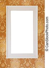 White frame on gold background
