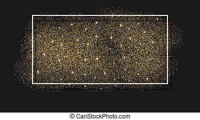 White frame on Gold glitter background. White border on a brilliant, glowing background for greeting card flyer poster, sign, banner, web header. Abstract sparkle, texture with sequin, 3D illustration