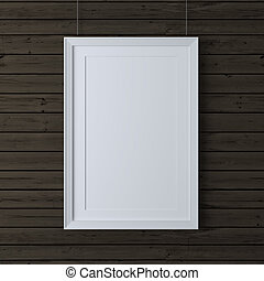 white frame on wood wall