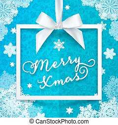 White frame, silky ribbon and bow on blue Christmas background with snowflakes