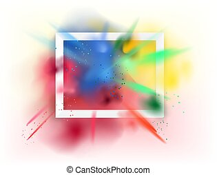 White frame with color dust. Color powder explosion on white background