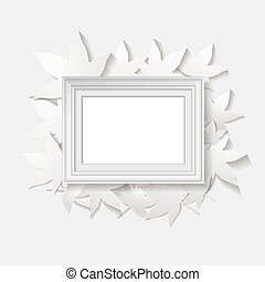 white frame with leaves. vector illustration
