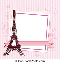 White frame with Paris and the Eiffel Tower on a pink...