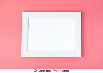 White frame with space to copy, on a pink background.