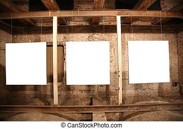 white frames among brick walls