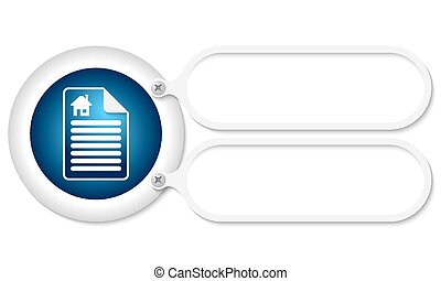 white frames and document icon and home symbol