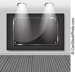White frames in art gallery vector illustration.