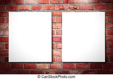 White frames on brick wall