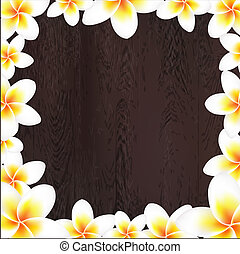 White Frangipani Frame With Wood Background, With Gradient...