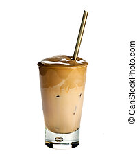 White Frappe Coffee isolated on white background