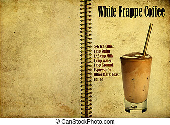 White Frappe Coffee recipe - Old,vintage or grunge Spiral...