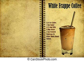 White Frappe Coffee recipe - Old,vintage or grunge Spiral...