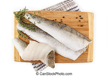 White fresh fish isolated on white background