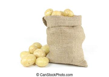White fresh mini potatoes - horizontal orientation.