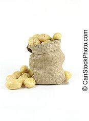 White fresh mini potatoes - vertical orientation.