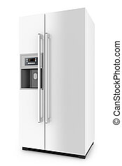 White fridge with side-by-side door system isolated on white...